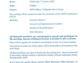 Notice of AFNT Annual General Meeting